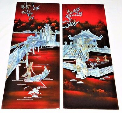 2  X Vintage Oriental Lacquer Mother Of Pearl Scenes Wall Hanging Panels  A/f