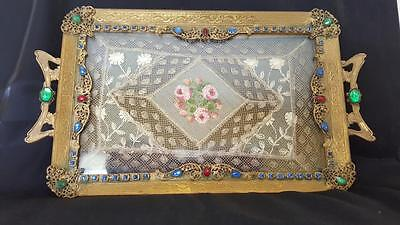 X-TRA Fancy Antique Jeweled Vanity Perfume Tray w/ Lace Insert