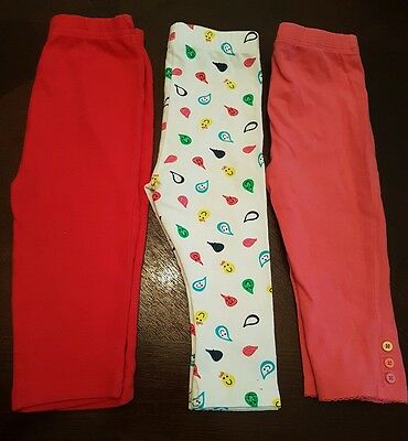 girls 9-12 months leggings bundle x3 summer clothes red pink white next day