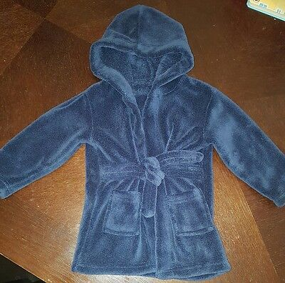 Fleece Dressing Gown Robe clothes 6-9-12 Months Boys navy next day