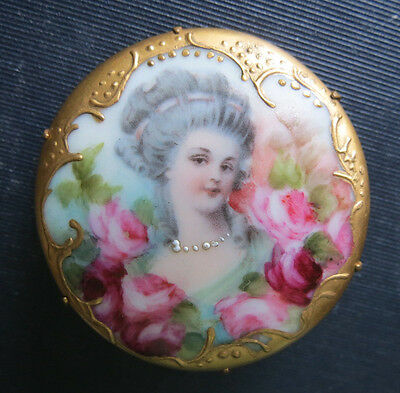 Beautiful Victorian Hand Painted Woman & Roses Porcelain Brooch Pin - Antique