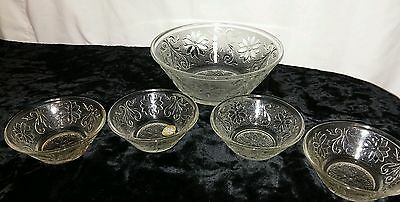 NIB RARE5pcVintage Tiara Exclusive CLEAR Indiana Glass Dessert Berry Bowls Set