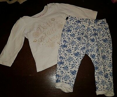 girls 6-9 months daddy top & floral joggers trousers leggings bundle summer next