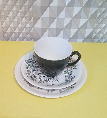 Alfred Meakin Poodle Parisienne Trio - Tea Cup, Saucer, Side Plate