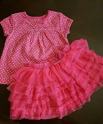 girls 18-24 months pink top t-shirt & tutu skirts summer clothes party next day