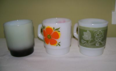 3 Vintage collectible Made in USA Fire King FireKing stacking Coffee Mugs Cups