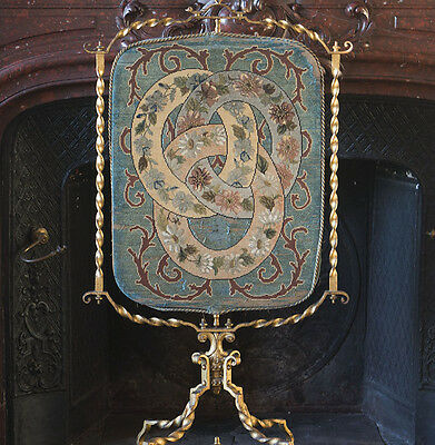 "43"" Rare Antique French Fire Screen by Maison HURET, c.1860, f/fashion doll room"