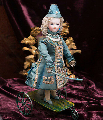 """13"""" Antique All Original French Mechanical Doll Playing Badminton by VICHY, 1875"""