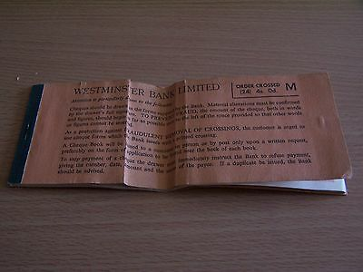 Vintage Westminster Bank Part Used Cheque Book Romford Branch 1959 Essex