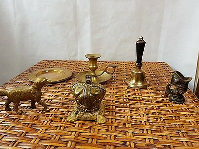 Collection Of Brass Items Dog Bell Gurgle Fish
