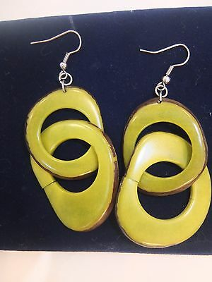 Tagua green earrings from Colombia 100% organic handmade 2 inches- brand new