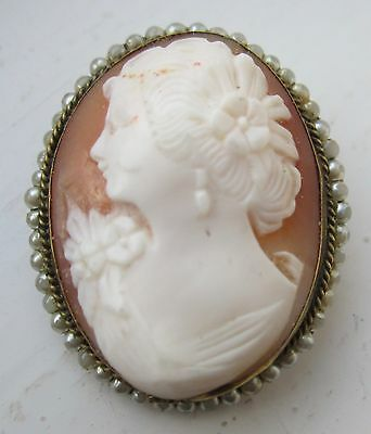 Vintage real shell cameo brooch pin carved lady oval shape