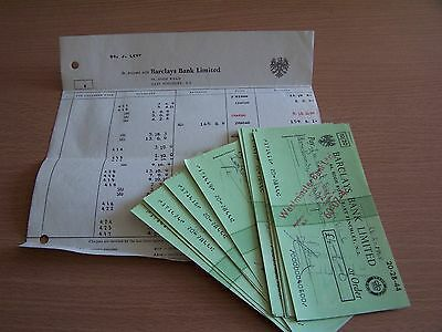 14 Vintage Barclays Bank Used Cheques & Matching Statement 1968 East Finchley