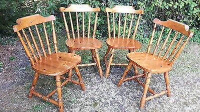 4 solid pine matching country style chairs