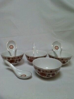 Chinese Xiamen China Cathay-Matching 4 Rice Soup Bowls & 4 Spoons