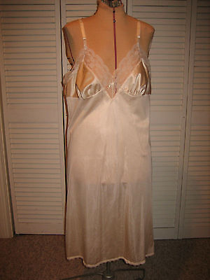 Vintage Light Nude Full Slip with Lace Trim - RN 19800 - Size 40 - USA