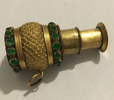 Antique Miniature Jeweled Spyglass Monocular Telescope Fob Charm
