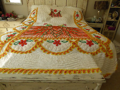 """Vintage Double Peacock Chenille Bedspread Full/Queen Vibrant Colors 99""""Lx93""""W"""