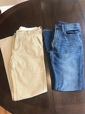 Abercrombie & Fitch Boys Size 16 Slim (Lot Of 2) Stretch Jeans And Khaki Pants