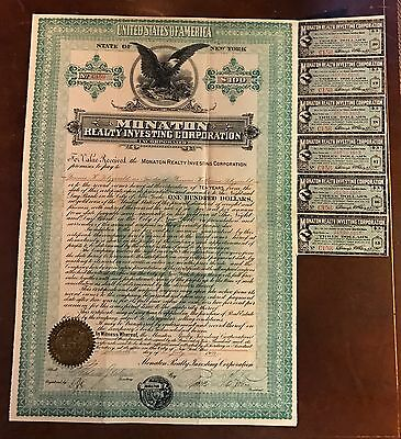 Monaton Realty Investing Corporation $100 Bond Certificate 1909