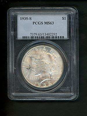 1935-S US Peace Silver Dollar $1.00 $1 PCGS MS63 Uncirculated Cracked holder