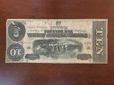 1864 $10 Ten Dollar Confederate Bill Currency - Circulated Condition - 19FR