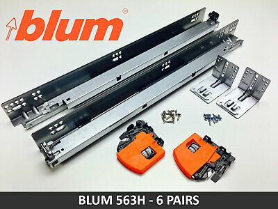 6 PAIRS Blum TANDEM 563H BLUMOTION Soft Close Drawer Slides with Locking Devices