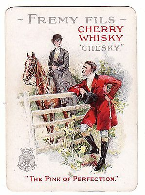 "OLD WIDE HORSE LADY SIDE SADDLE ""CHERRY WHISKY"" AD  Single Vintage Playing Card"