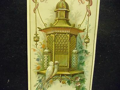 victorian trade card # 6501 - BIRD CAGE AND 2 DOVES - BOOK MARK