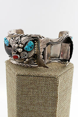 Navajo Sterling Silver Turquoise, Coral & Faux Bear Claw Watch Cuff, M Thomas Jr