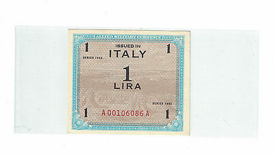 ITALY ALLIED MILITARY CURRENCY 1 LIRA 1943 Pick# M10a AU-Choice UNC. ( #793 )