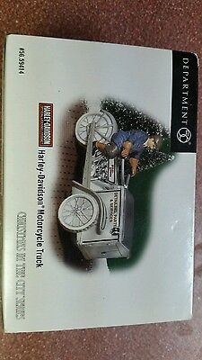 Department 56 Christmas in the City Harley Davidson Motorcycle Truck NIB 59414