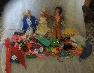 Vintage Ken And Barbies With Regular And Blow Up Funiture And Loads Of Accessori