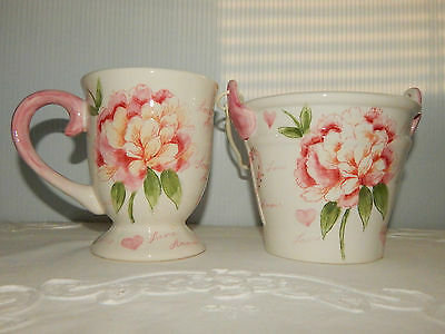 Maxcera Amour Hand Painted Pink Peonies & Hearts Cup & Pail