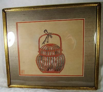 1979 Antique Chinese Scroll Painting Framed in SIlk Border Beautiful Signed