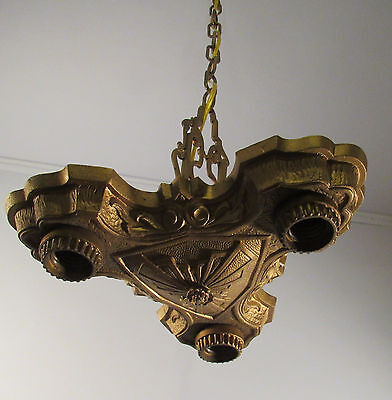 Antique Art Deco LaSalle cast iron 3 bare bulb light fixture rewired triangle