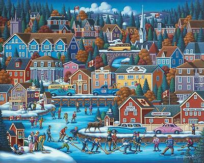 Dowdle Folk Art Collectors Jigsaw Puzzle Canadian Hockey 1000 Pieces