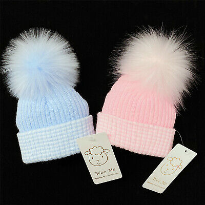 First Size Baby Faux Fur Pompom Hat/Big &Soft Fur Pom/White/Blue/Pink/0-3 Months