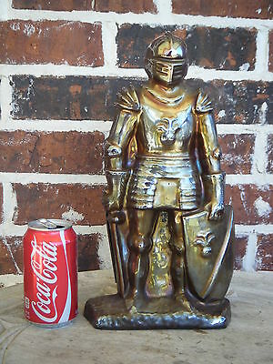 Vtg Cast Iron Knight Fireplace Tool Set Gold Iridescent Pot Belly Stove