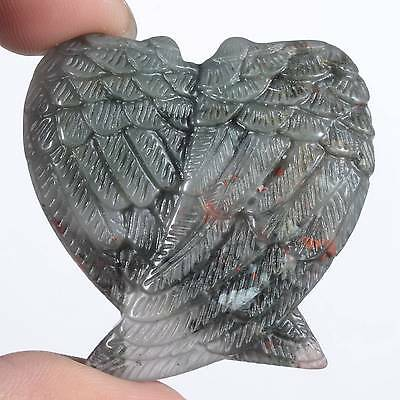 "1.5"" Natural New Blood Jasper Angel Wings Carving,Collectibles #23F67"