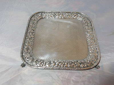 S. KIRK & SON REPOUSSE SILVER FOOTED PLATTER / TRAY 11OZ HALLMARK ANTIQUE 1880s