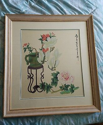 Large Vintage / Antique Chinese Floral Painting On Silk Artist Signed