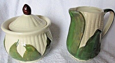 Shawnee Pottery White Corn 1941 Sugar & Creamer Set Usa White Mint