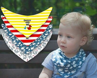 Baby Bibs Unisex 4 PACK Button Snap Drool Clean Cotton Easy Clean Up Absorbent