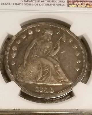 1844 P Seated Liberty $1 Dollar NGC VF RARE only 20,000 minted!! Key date