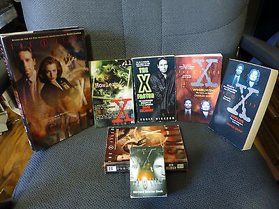 Lot of 6 X-Files Books Hardcover and Softcover & 60 Deck Card Game