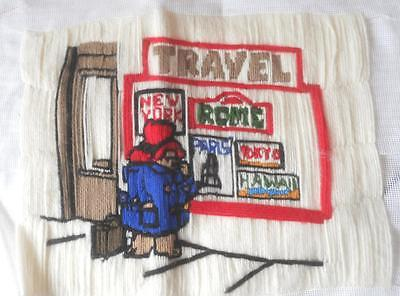 Vintage Completed Long Stitch Tapestry Paddington Bear At Travel Agent Upcycle