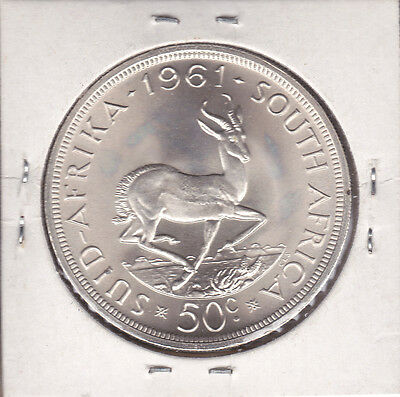 South Africa 1961 50 Cents Lg Silver African Coin Springbok Rev like Kruggerrand