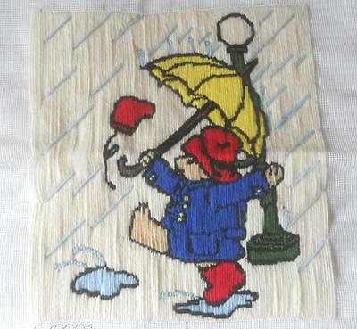 Vintage Compltd Long Stitch Tapestry Paddington Bear & Umbrella In Rain Upcycle