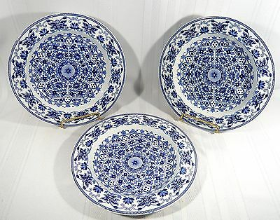"""3 Antique Booths T.B.& S. INDIAN ORNAMENT Large Flat  BOWLS 10 1/4""""  B&W Pottery"""